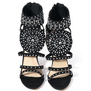 EGO Black Jeweled Gladiator Heels 6